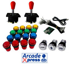 Kit Arcade Iluminado x2 Spanish joysticks rojos 18 botones LED Usb encoder