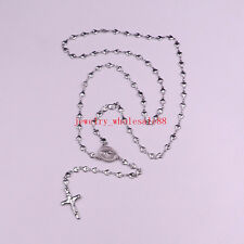 5pcs Lot Stainless Steel religious Cross Rosary Necklace Heart Chain Women Gifts
