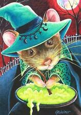 ACEO Limited Edition Print Halloween Witch Mouse Cauldron Brew Moon by J. Weiner