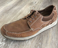 CLARKS Mens Size 12 Brown Nubuck Leather Casual Lace-Ups Driving Boat Shoes