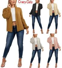 Women Bobble Knit Sleeve Cardigan Ladies Chunky Bubble Knitted Jumper Top