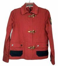 Lauren Ralph Lauren LRL Petite Jacket Military Nautical Red Blue Claw Clasp P XS