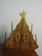 Handcrafted Wooden Christmas Tree Candlestick Noel