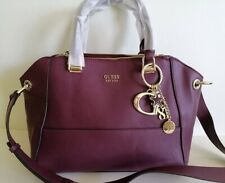 New Guess burgundy large satchel bag / shoulder bag + free charm