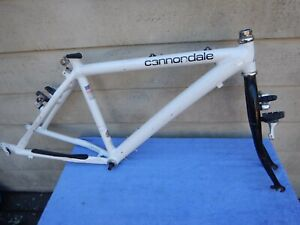 "15"" Vintage Cannondale XS Mountain Bike Frameset White with EXTRAS"