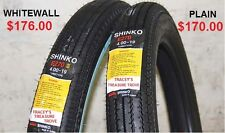 WHITEWALL TYRE OLD SCHOOL CLASSIC 4.00 X 19 FRONT TUBE BOBBER VINTAGE RETRO  NEW