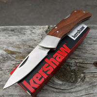 "Kershaw Lockback Folding Knife 2.5"" 8Cr13MoV Stainless Blade Brown Wood Handle"