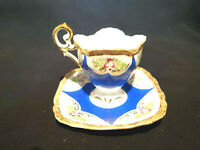 Vintage Blue Floral Ucagco Footed Tea Cup & Saucer Gold handpainted Gold Trim