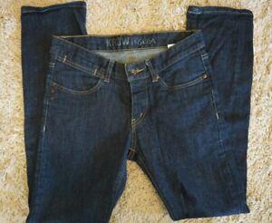 Kr3w Kslim Mens Blue Denim Button Fly Slim Straight Jeans Size 30 x 29