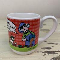 MAXINE - Vtg 80s Hallmark White Red Gingham Christmas Funny Coffee Tea Cup Mug