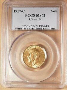 1917-C Canada Gold Sovereign, PCGS MS62, Very Lustrous & Bright, Low Mintage.
