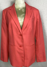 Talbots Lined Blazer Size 10 Button Up Coral Jacket W/ Pockets Long Sleeves EUC