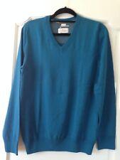 S. Oliver  men's teal colour 100% cotton V-neck jumper size UK S Brand new