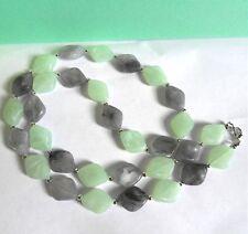 Light Aqua & Grey Rhombus Bead  Necklace - 29 inches