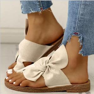 Womens Bow Knot Flat Flip Flops Slip On Sliders Mules Summer Beach Sandals Shoes