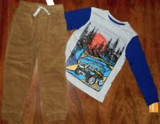Corduroy Pants Set Gymboree 2pc Brown Gray Sunset Tee Cotton Boy size 5 New