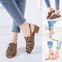 Women Casual Round Toe Lady Shoes Shallow Square Heels Elastic Band Single Shoes