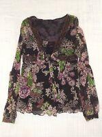 maglia donna nero stretch floreale taglia s small