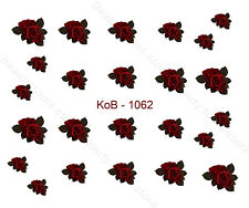 Nail Art Water Transfer Stickers Decal Pretty Red Roses KoB-1062