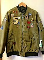 Basic BOMBER JACKET size SMALL assorted PATCHES Olive Green Street Wear