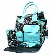 Tippitoes Girl About Town Changing Bag Turquoise/Black Floral