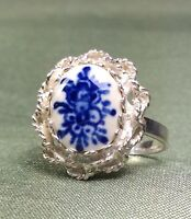 Vintage Antique .835 Sterling Silver Porcelain Ring SZ-9 Fine Jewelry