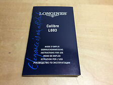 Booklet LONGINES Calibre L693 - Instructions for use - For Collectors