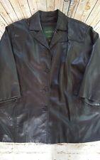 Danier Canada Women's Black soft Leather Coat Jacket Size 12 14 EUC