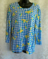 Kim Rogers Gingham Spring Cardigan Size L NWT Blue Floral Button Front Cotton