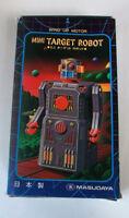 boxed with advertising leaflet masudaya mini target wind up motor robot 4.5 inch