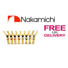 8X qualità NAKAMICHI SPADE FORK Connettori 24K GOLD PLATED Connector ** UK **