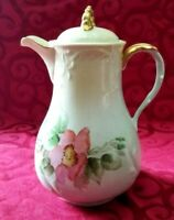 ANTIQUE LIMOGES BPFC HAND PAINTED PORCELAIN CHOCOLATE COFFEE POT SIGNED