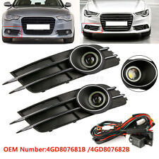 1 Pair Front Bumper Fog Light Grille Covers Trim For Audi A6 A6L C7 2011 - 2015