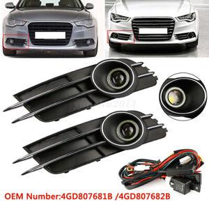 1 Pair Front Bumper Fog Light Grille Covers Trim For Audi A6 A6L C7 2011 - 2015