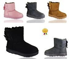 KIDS GIRLS CHILDREN WARM WINTER ANKLE FUR LINED GRIP SOLE SNUGG BOW BOOTS SIZE