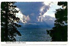 Lake Tahoe Summer Storm Postcard California Mountains Clouds Water Vintage 1982