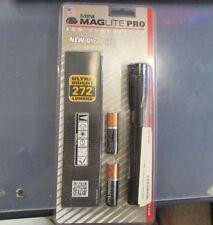 NEW GENUINE Maglite Mini PRO LED 2 AA Flashlight + Holster Black 272 lumens