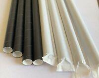 "Paper Straws Super Jumbo 8mm 7.75"" Disposable Black Individually Wrapped 600pcs"