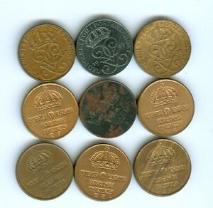 SWEDEN TEN ORES DATED FROM 1939 TO 1956
