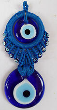 BIG MULTI-EVIL EYES~Handmade Macrame Wall Hanging Amulet Wall Decor  Beads  Blue