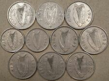 Ireland 10 coins 3P 1942+48; 6P 1934,40,42,48,52,55,56,+62 Mid Grade and Better