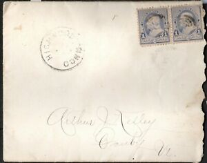 USA 1890 COVER WITH, A PAIR OF BEN FRANKLIN 1C STAMPS, DULL BLUE DUPLEX CANCEL