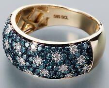 Ä2555 Ring 585er Gelbgold Brillant blau/weiß 1,00ct RW19