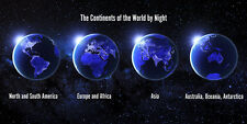 Continents of the World by Night - 3D Lenticular Postcard Greeting Card - Long