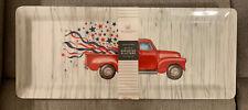 New listing 4th Of July Patriotic Red Truck Stars Melamine 2 Tidbit Tray Rachel Ashwell