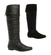 WOMENS LADIES GIRLS NEW FLAT HEEL SLOUCH CALF PULL ON KNEE HIGH BOOTS SHOES SIZE