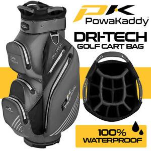 PowaKaddy Dri-Tech 14-WAY Waterproof Golf Cart Bag Titanium/Blk/Silver NEW! 2021