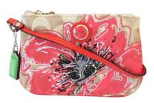 New NWT Coach Poppy Khaki Coral Flower Floral Signature Sequined Wristlet 47196