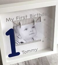PERSONALISED 1ST BIRTHDAY GIFT, Photo White Box Frame My First Birthday Colour 1