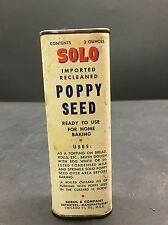 Vintage Solo Blue Poppy Seed Spice Cardboard Tin Kitchen Advertising
